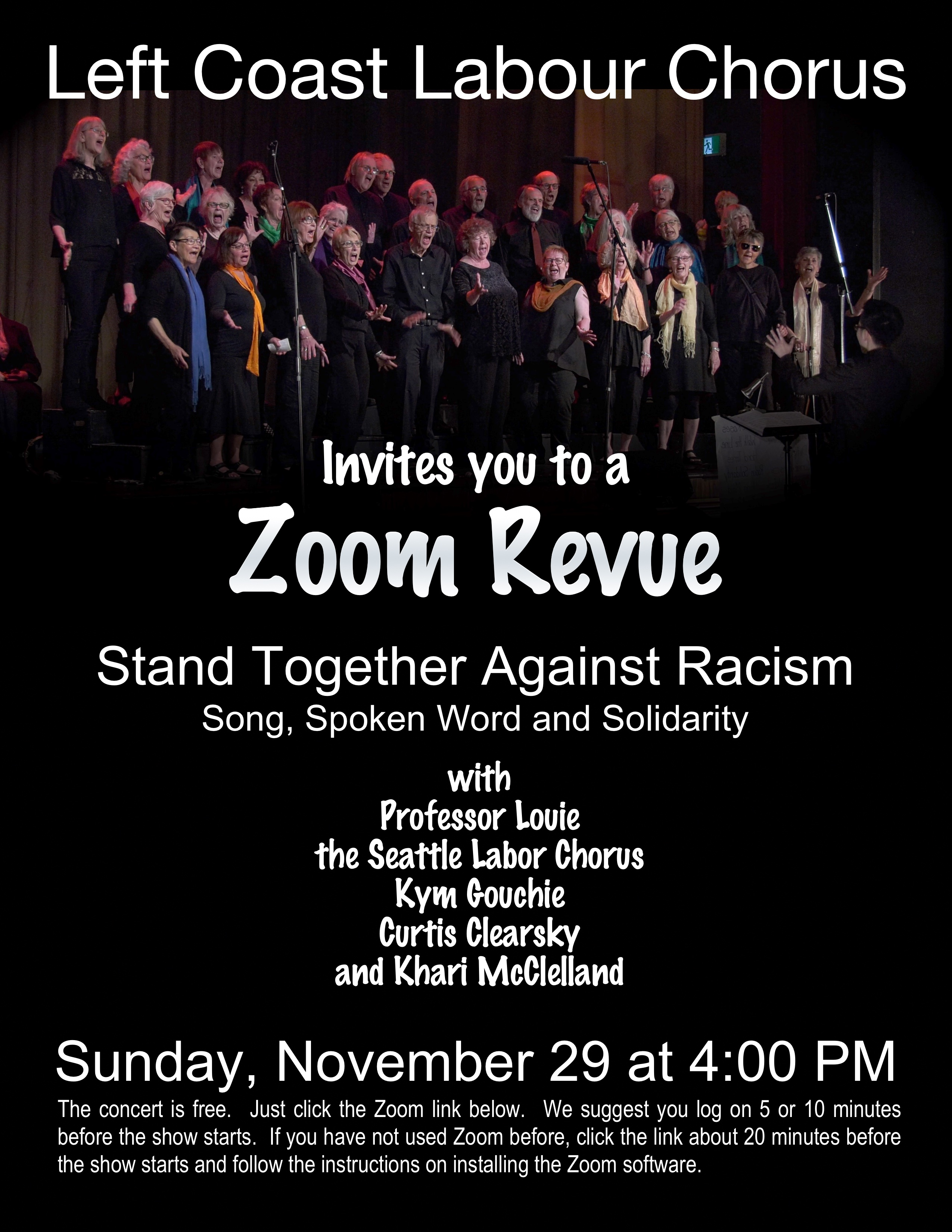 LCLC is hosting hosting another musical and spoken word revue, on November 29th, 2020.